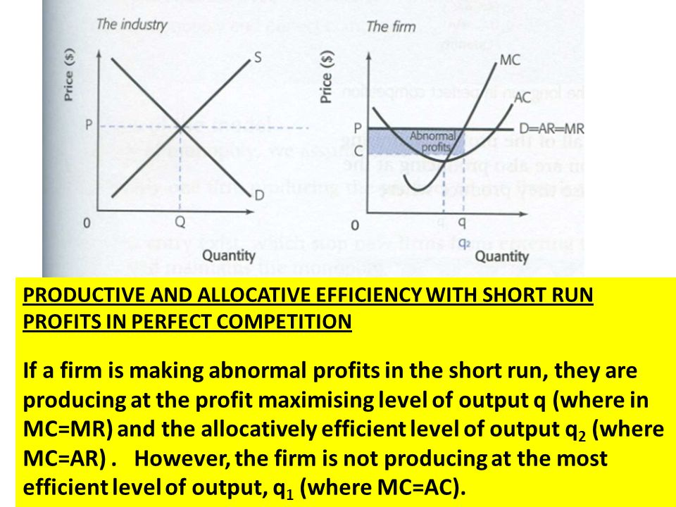 PRODUCTIVE AND ALLOCATIVE EFFICIENCY WITH SHORT RUN PROFITS IN PERFECT COMPETITION