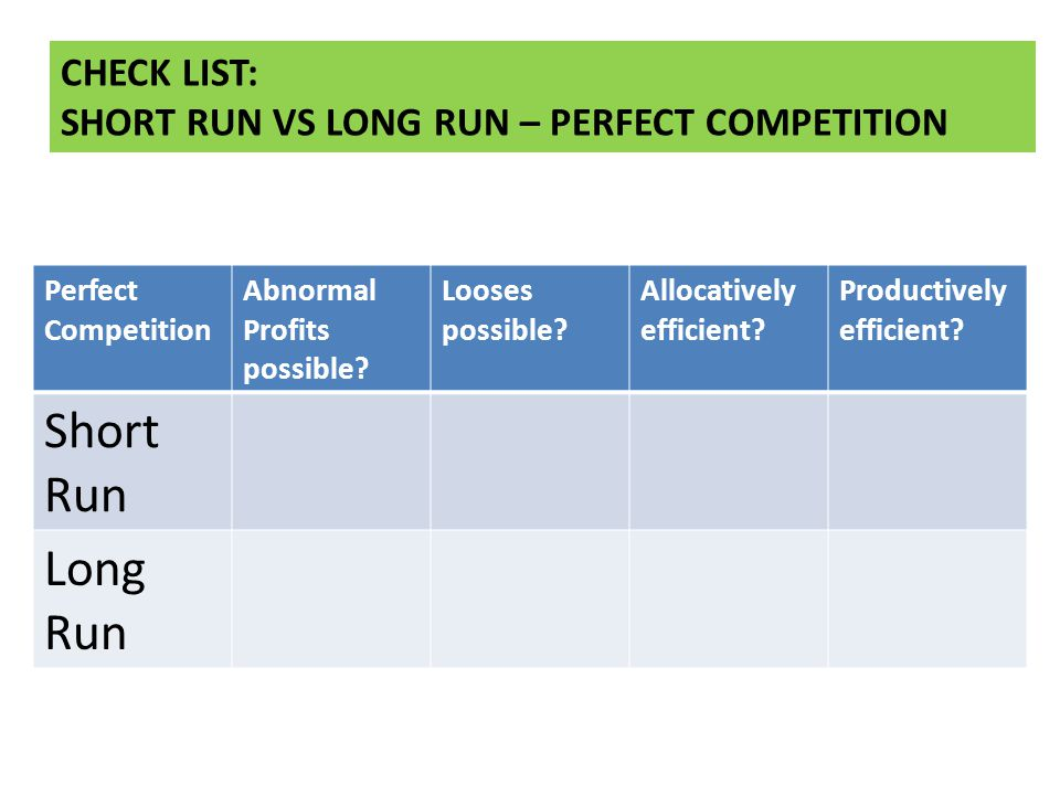 Short Run Long Run CHECK LIST: