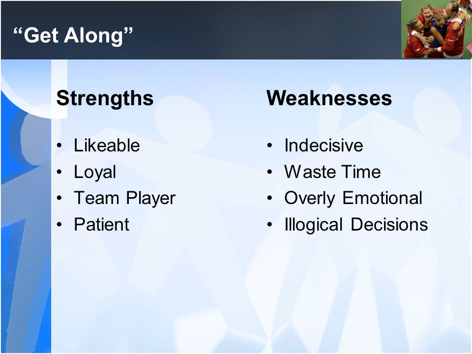Get Along Strengths Weaknesses Likeable Loyal Team Player Patient