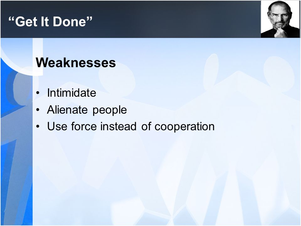 Get It Done Weaknesses Intimidate Alienate people