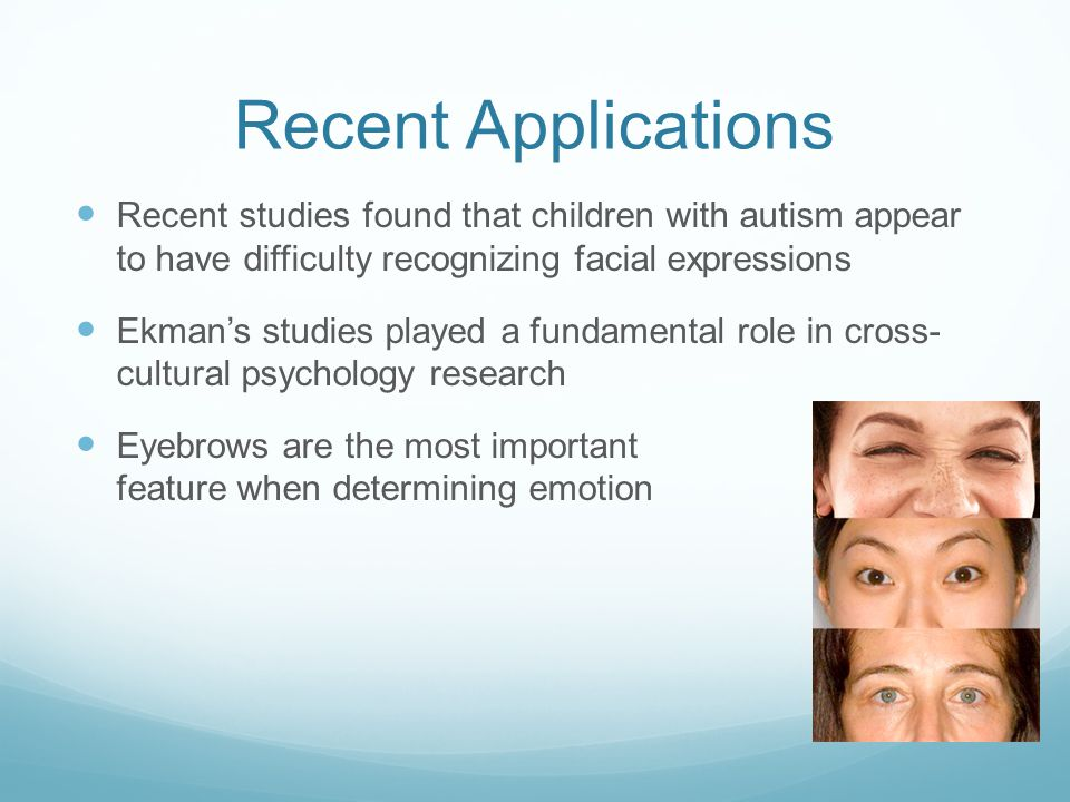 Recent Applications Recent studies found that children with autism appear to have difficulty recognizing facial expressions.