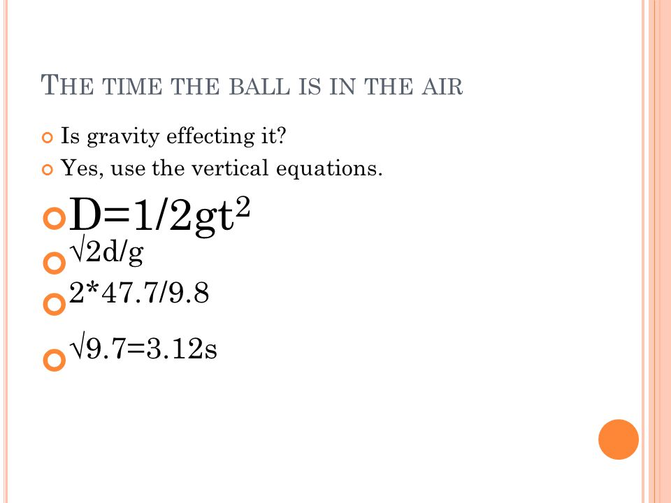 The time the ball is in the air