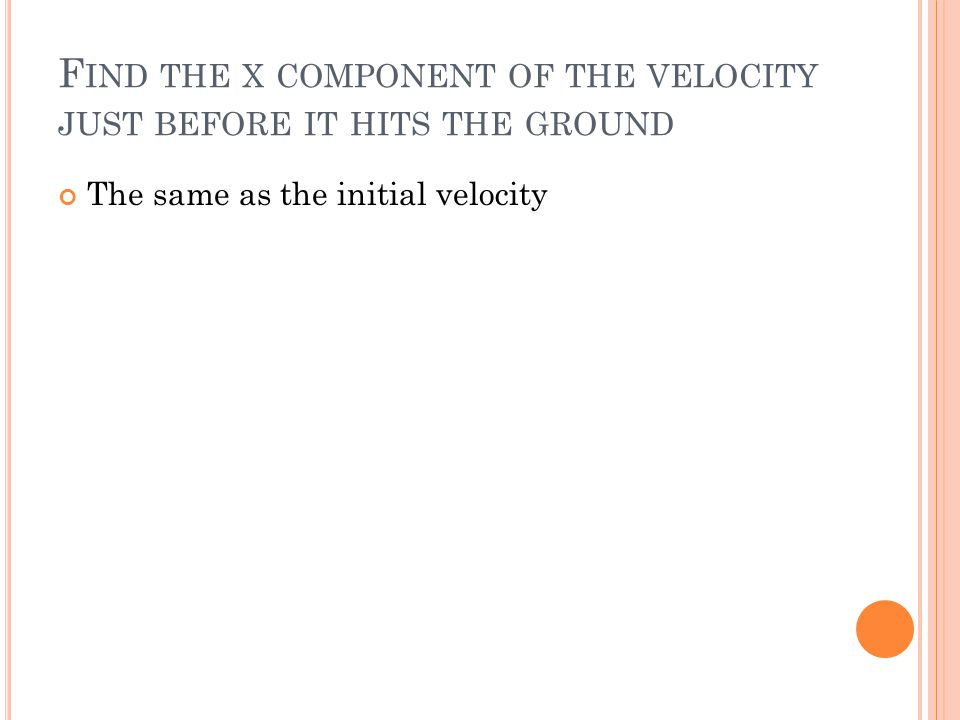 Find the x component of the velocity just before it hits the ground