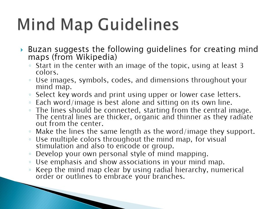 Mind Map Guidelines Buzan suggests the following guidelines for creating mind maps (from Wikipedia)