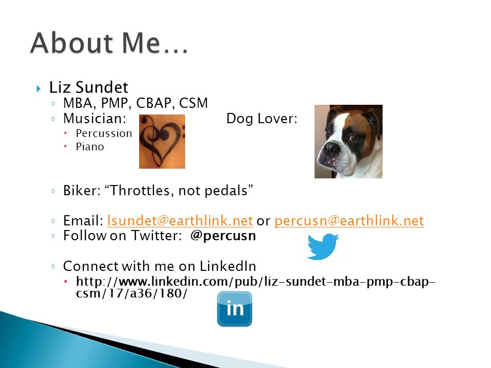 About Me… Liz Sundet MBA, PMP, CBAP, CSM Musician: Dog Lover: