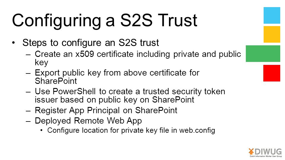 Configuring a S2S Trust Steps to configure an S2S trust
