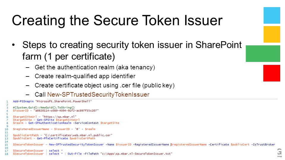 Creating the Secure Token Issuer