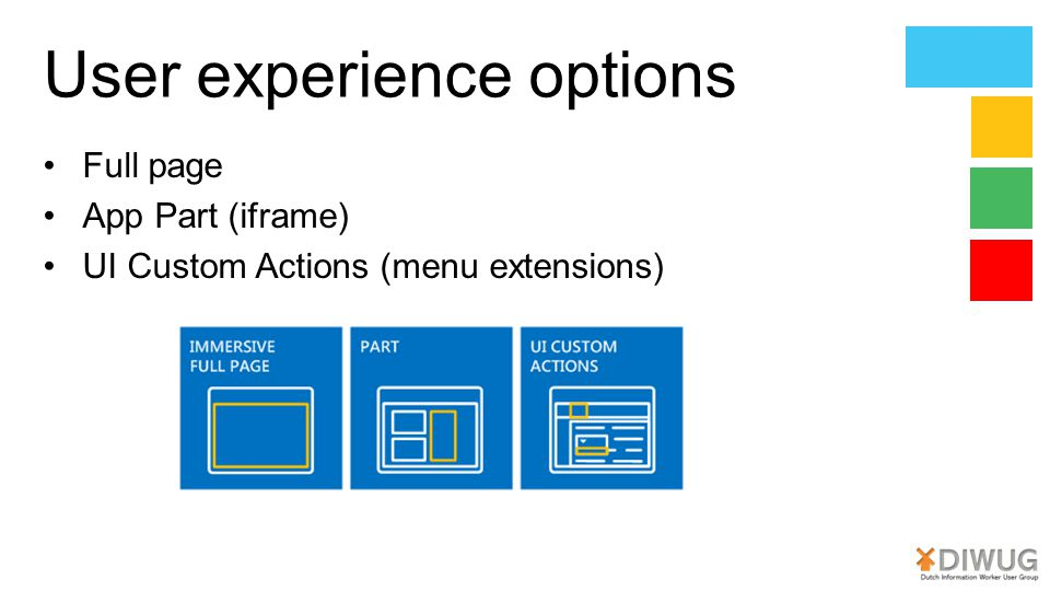 User experience options