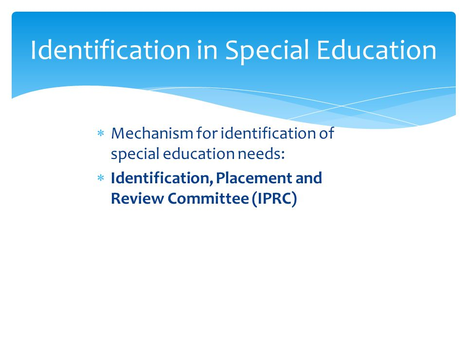 Identification in Special Education
