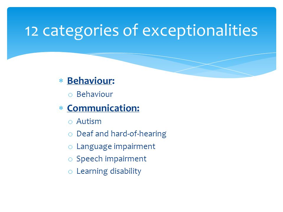 12 categories of exceptionalities