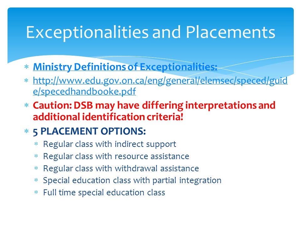 Exceptionalities and Placements