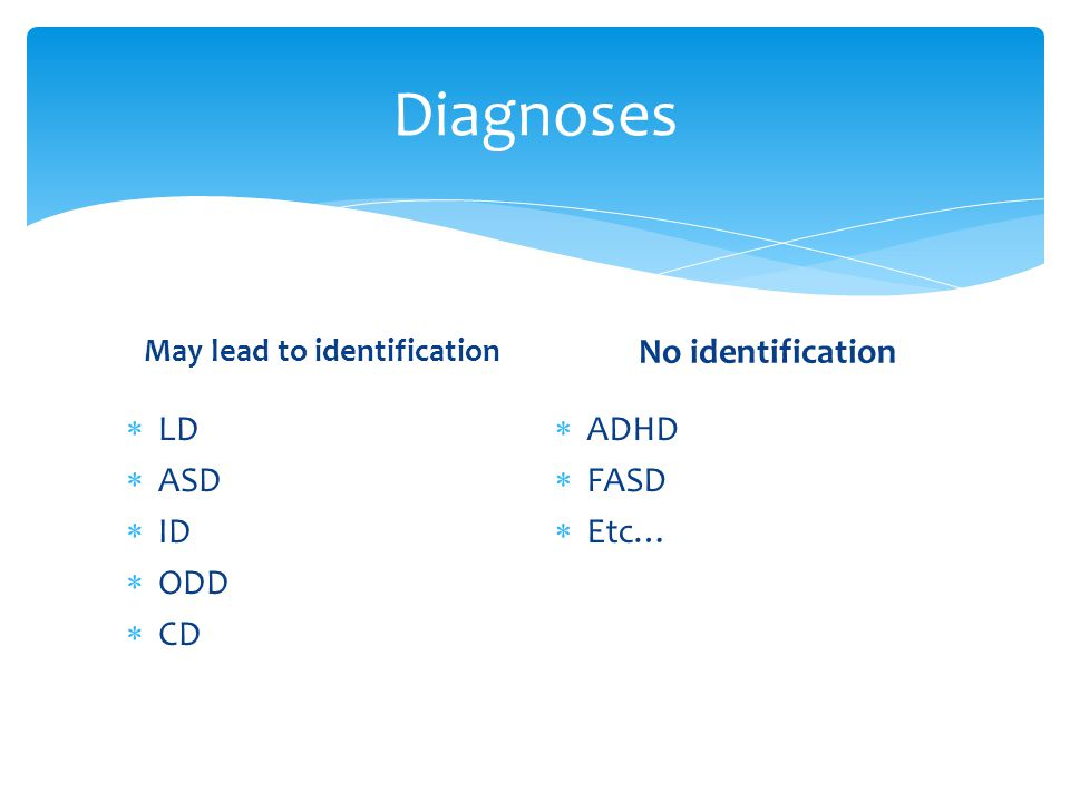 Diagnoses No identification LD ASD ID ODD CD ADHD FASD Etc…