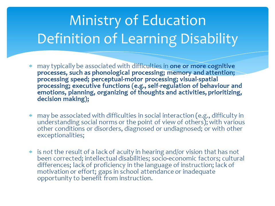 Ministry of Education Definition of Learning Disability