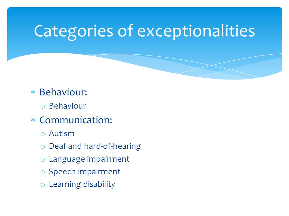 Categories of exceptionalities