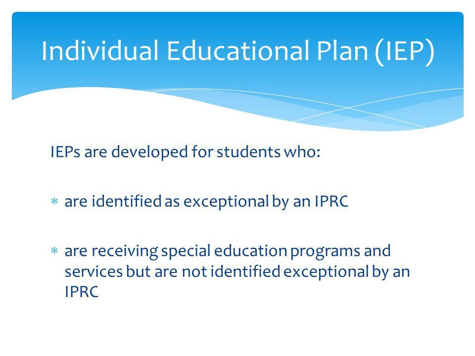 Individual Educational Plan (IEP)