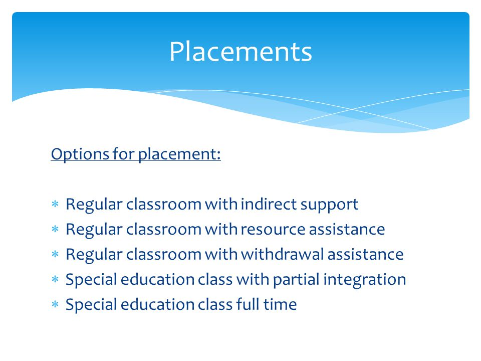 Placements Options for placement: