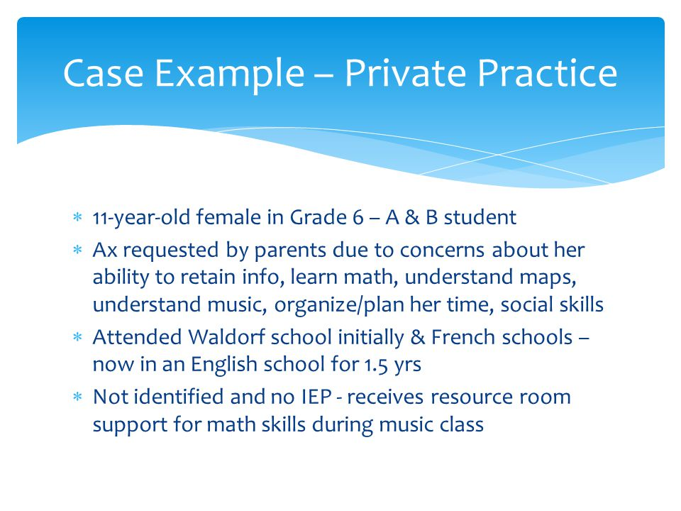 Case Example – Private Practice