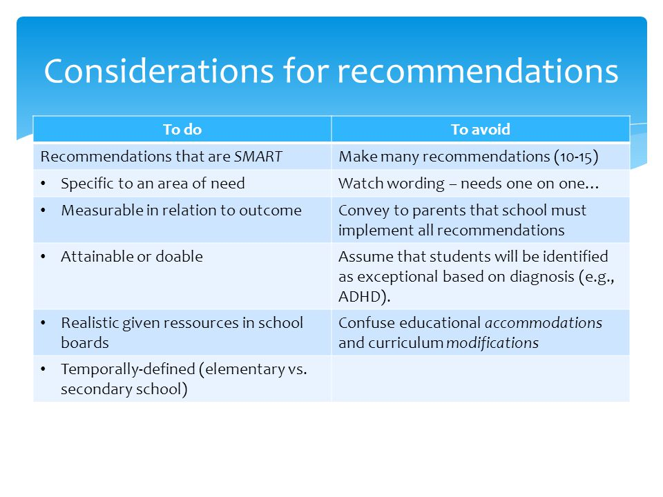 Considerations for recommendations