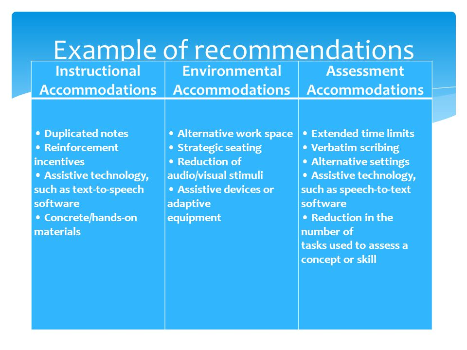 Example of recommendations