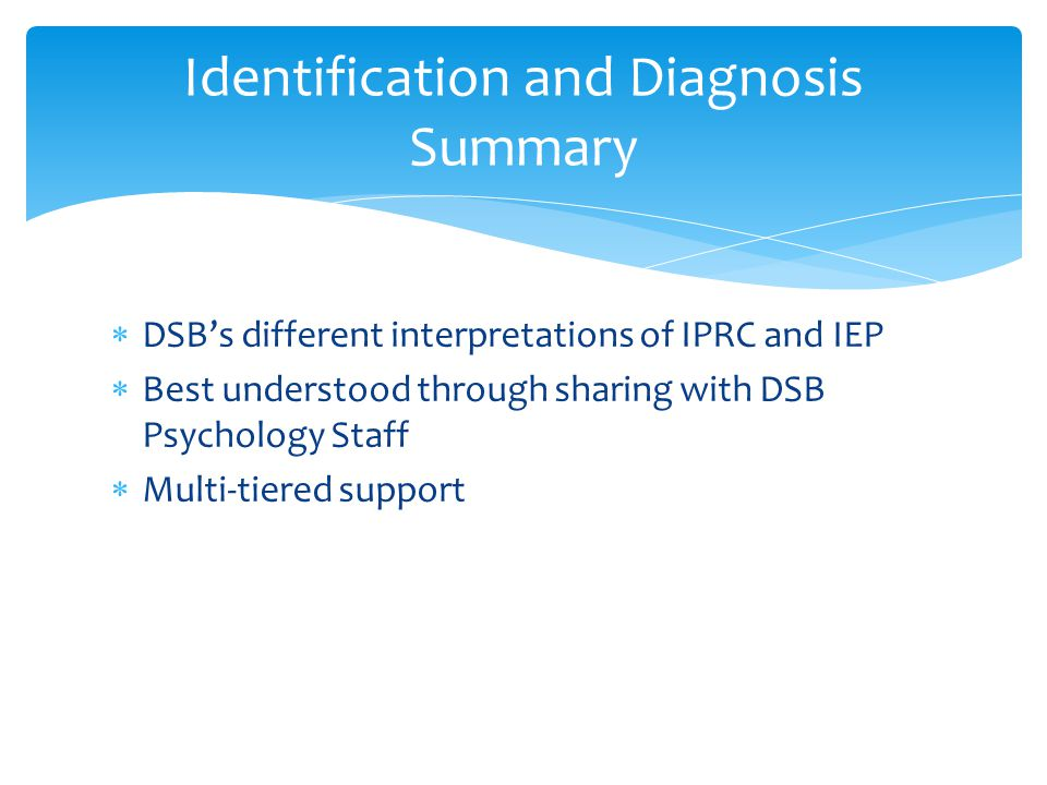 Identification and Diagnosis Summary