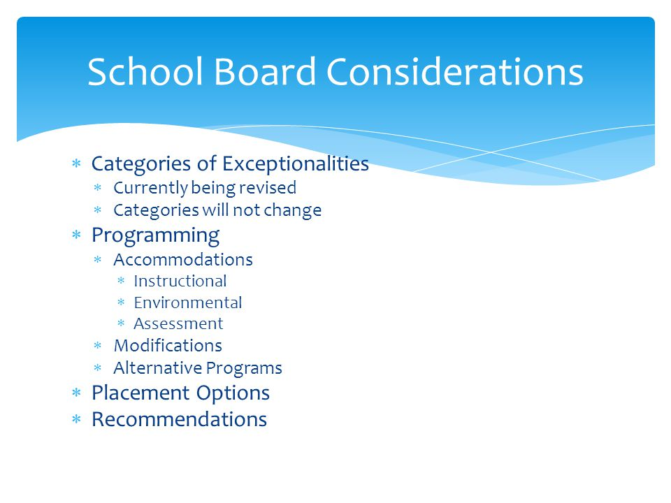 School Board Considerations