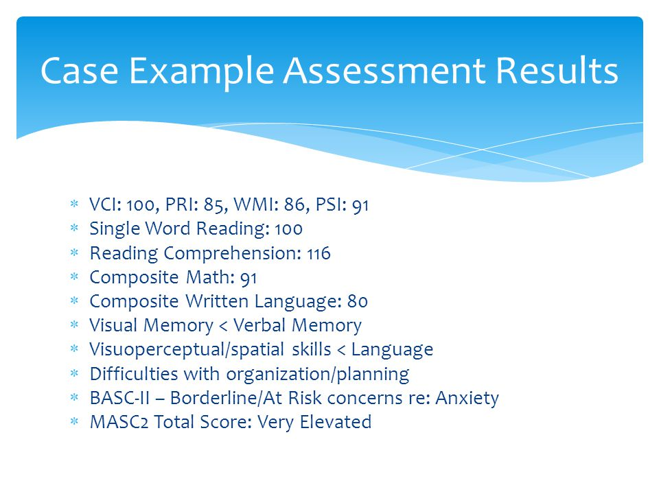 Case Example Assessment Results