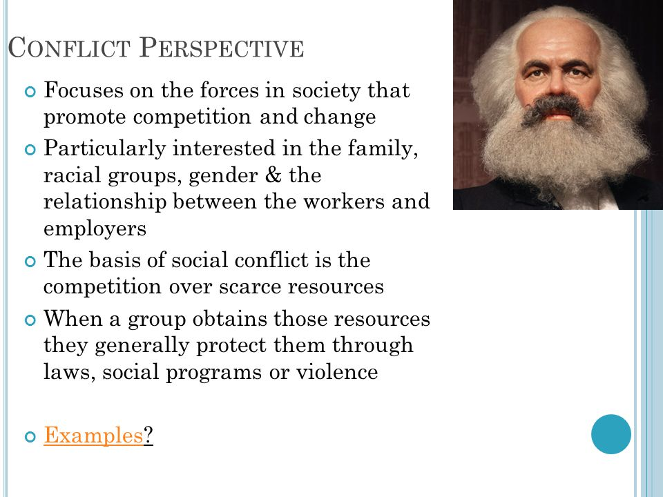 Conflict Perspective Focuses on the forces in society that promote competition and change.