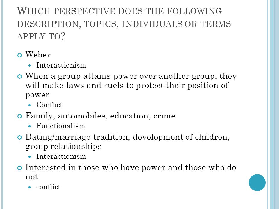 Which perspective does the following description, topics, individuals or terms apply to