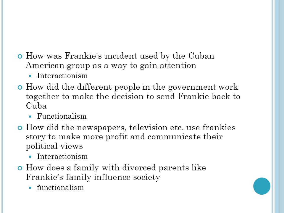 How was Frankie s incident used by the Cuban American group as a way to gain attention
