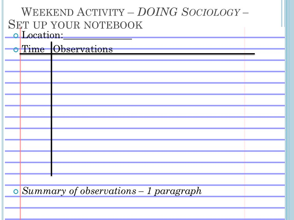 Weekend Activity – DOING Sociology –