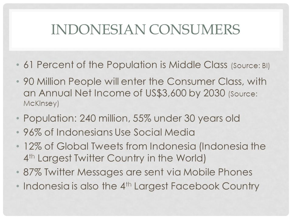 INDONESIAN CONSUMERS 61 Percent of the Population is Middle Class (Source: BI)
