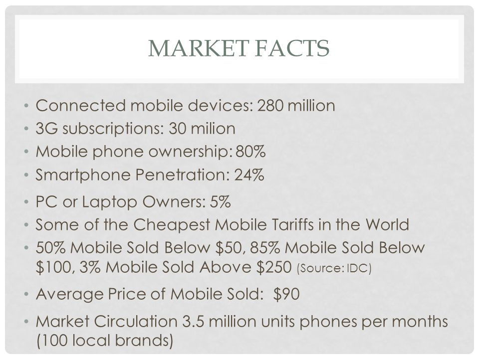 MARKET FACTS Connected mobile devices: 280 million