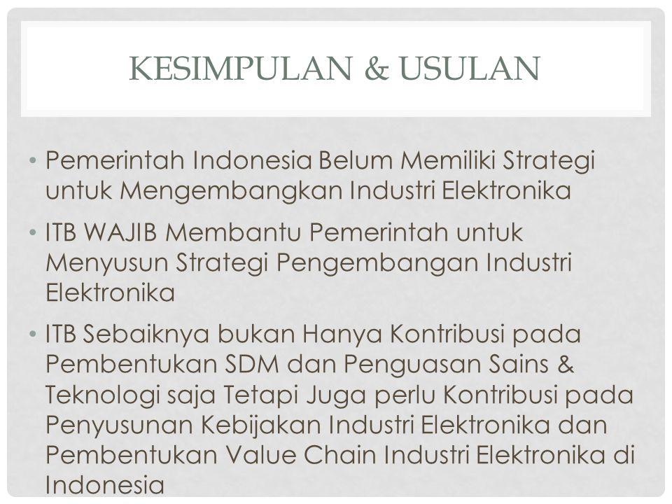 KESIMPULAN & USULAN Pemerintah Indonesia Belum Memiliki Strategi untuk Mengembangkan Industri Elektronika.