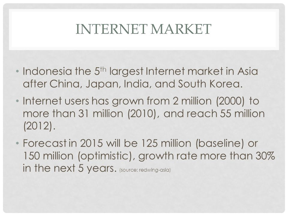 Internet market Indonesia the 5th largest Internet market in Asia after China, Japan, India, and South Korea.