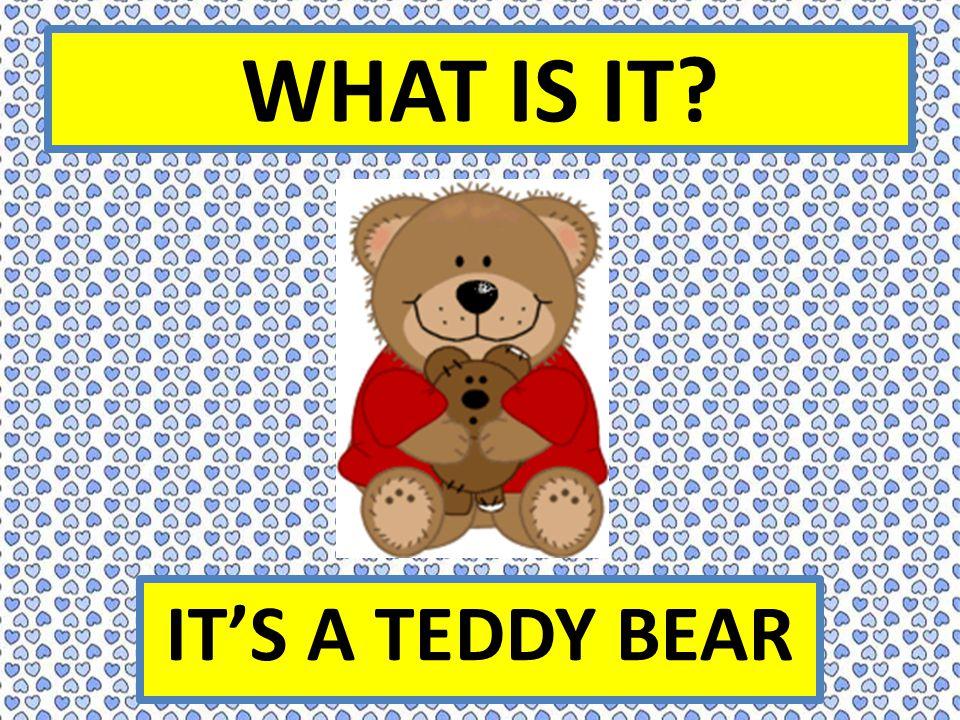 WHAT IS IT IT'S A TEDDY BEAR