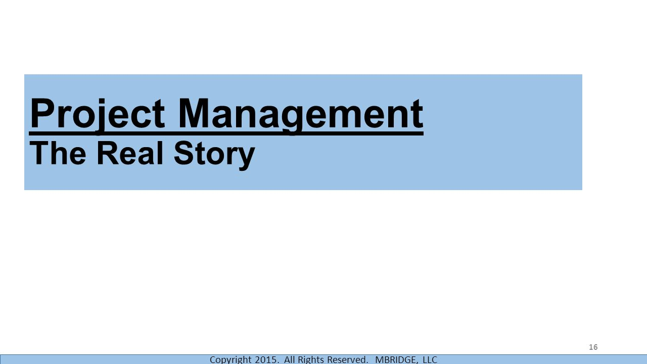 Project Management The Real Story