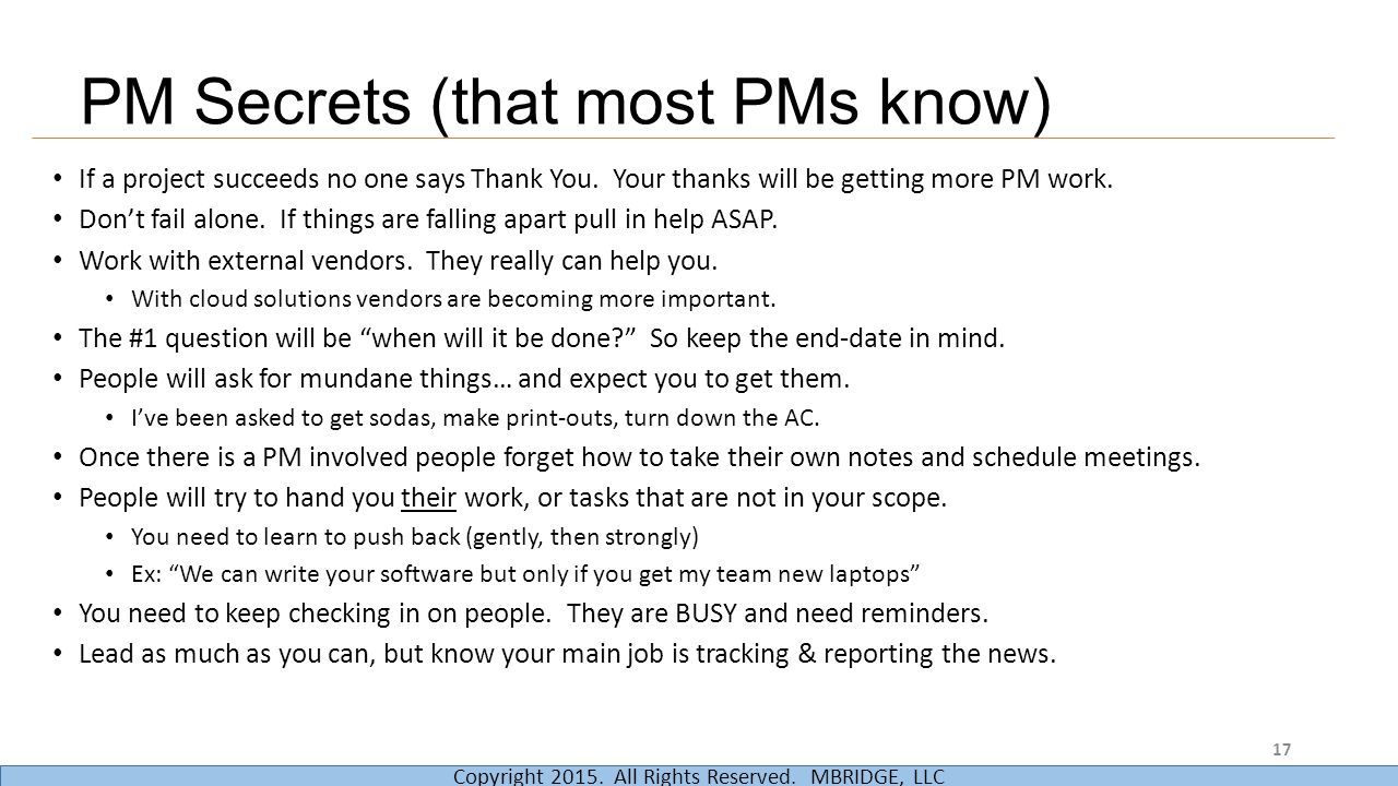 PM Secrets (that most PMs know)