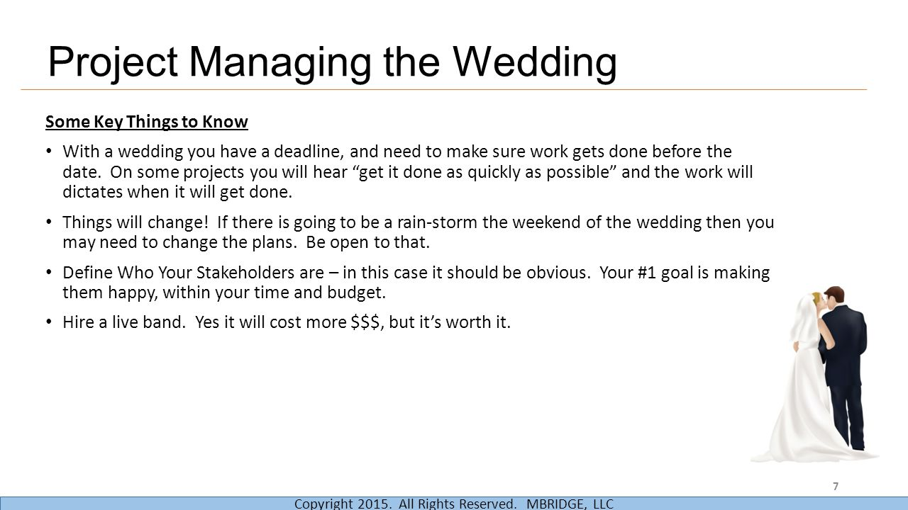 Project Managing the Wedding