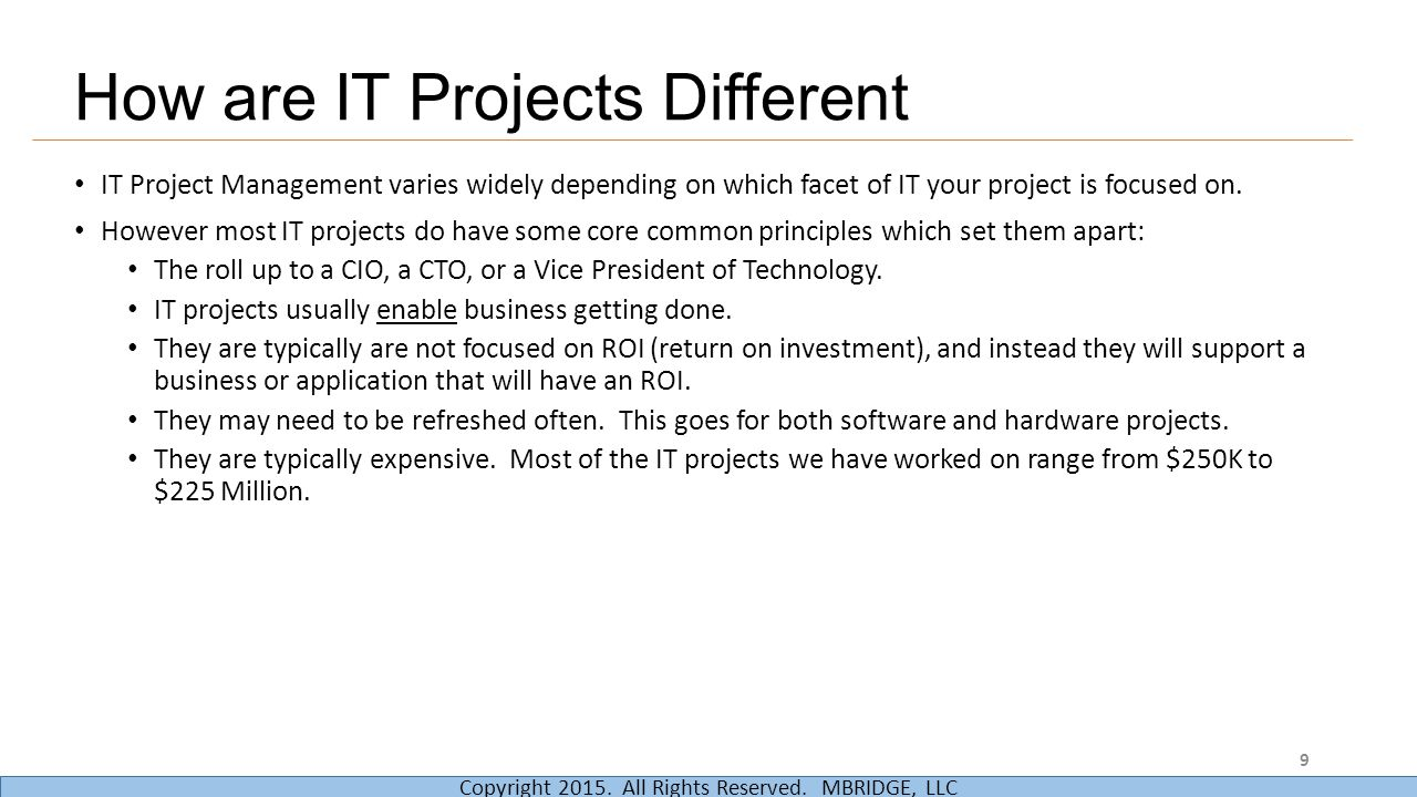 How are IT Projects Different