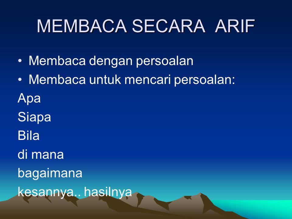 MEMBACA SECARA ARIF Membaca dengan persoalan