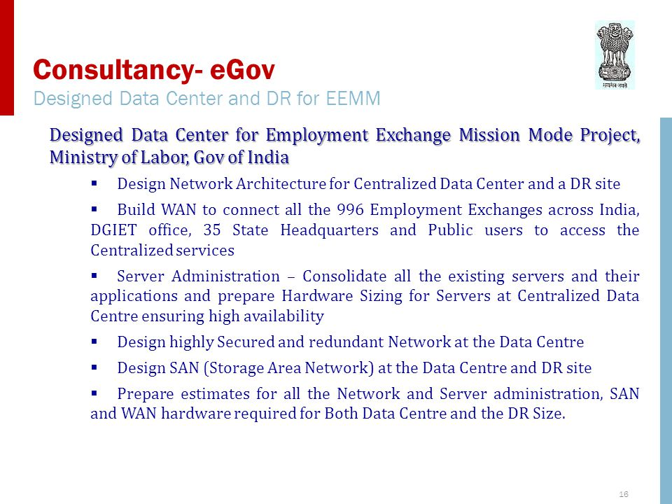 Consultancy- eGov Designed Data Center and DR for EEMM