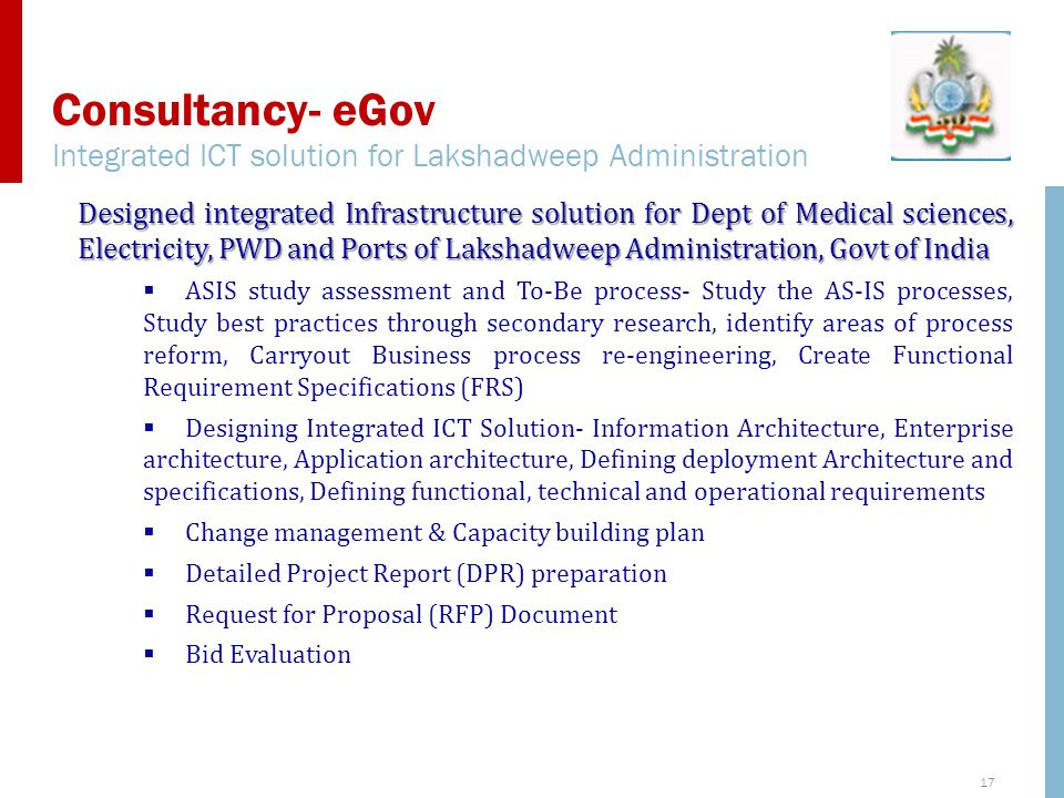 Consultancy- eGov Integrated ICT solution for Lakshadweep Administration.
