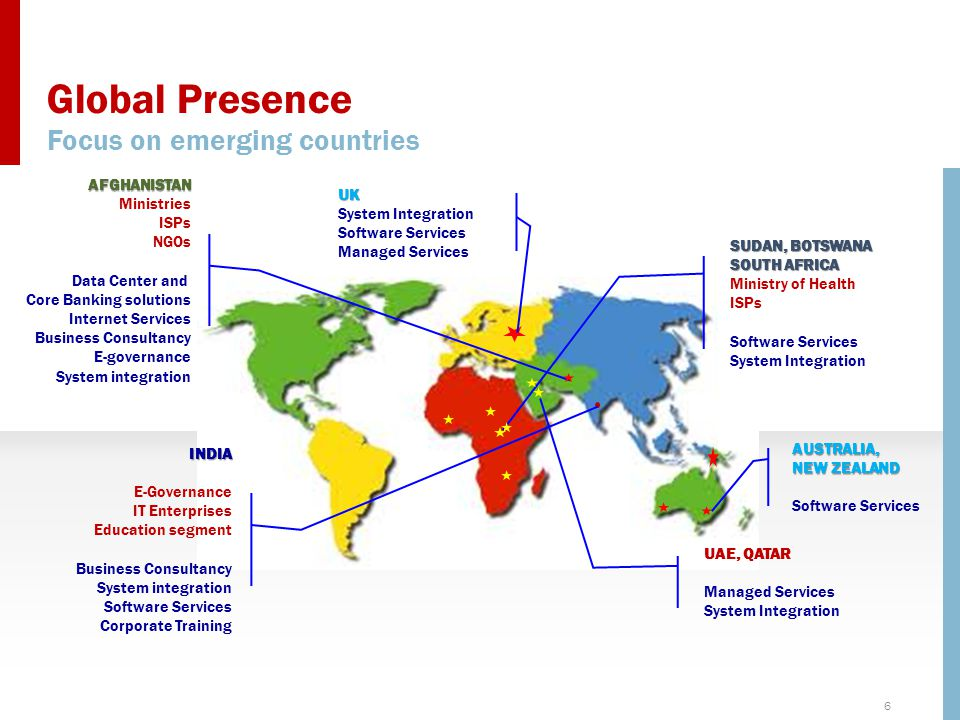 Global Presence Focus on emerging countries UK System Integration