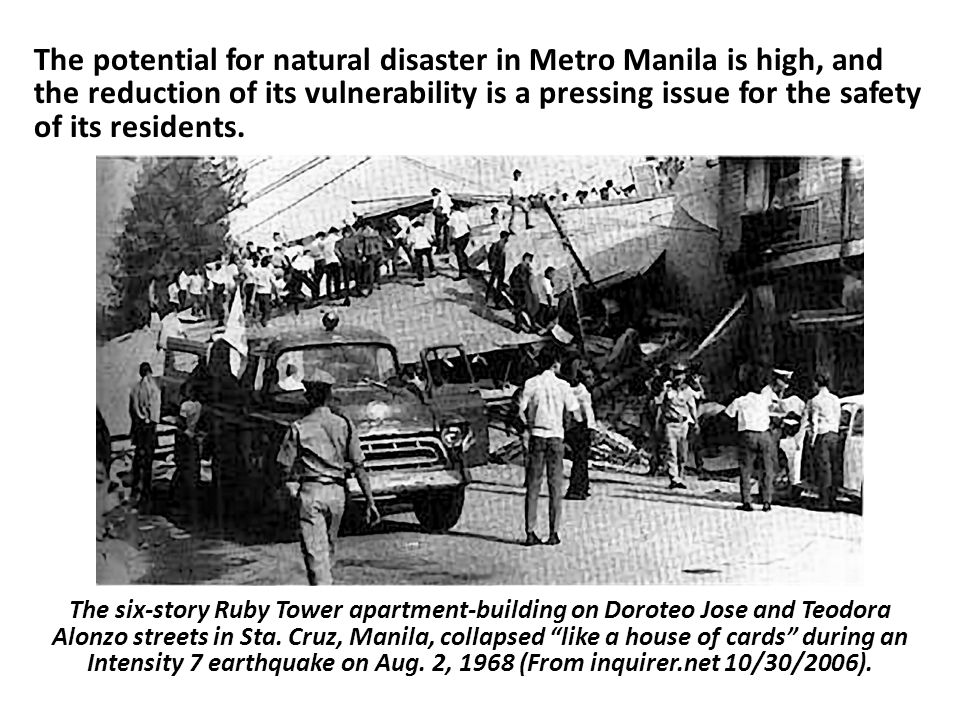 The potential for natural disaster in Metro Manila is high, and the reduction of its vulnerability is a pressing issue for the safety of its residents.