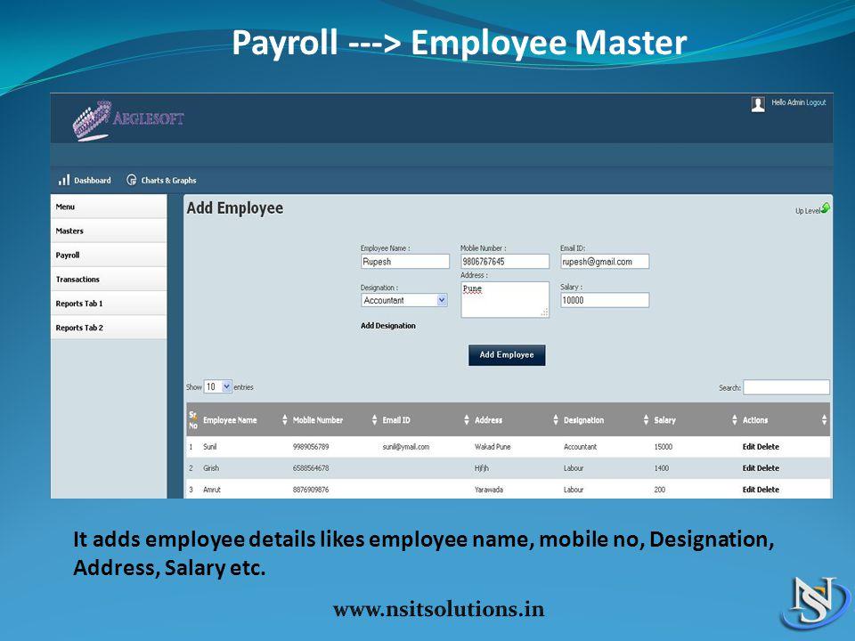 Payroll ---> Employee Master