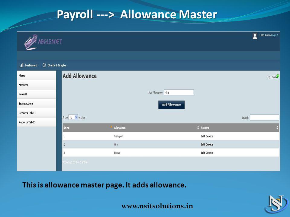 Payroll ---> Allowance Master