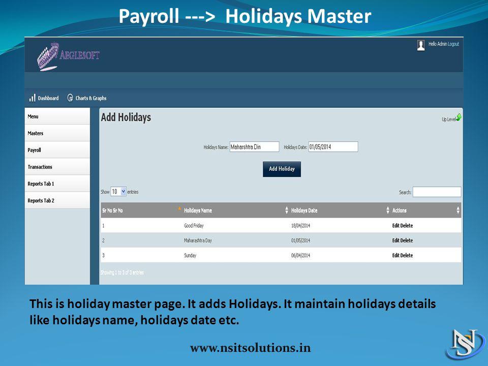Payroll ---> Holidays Master