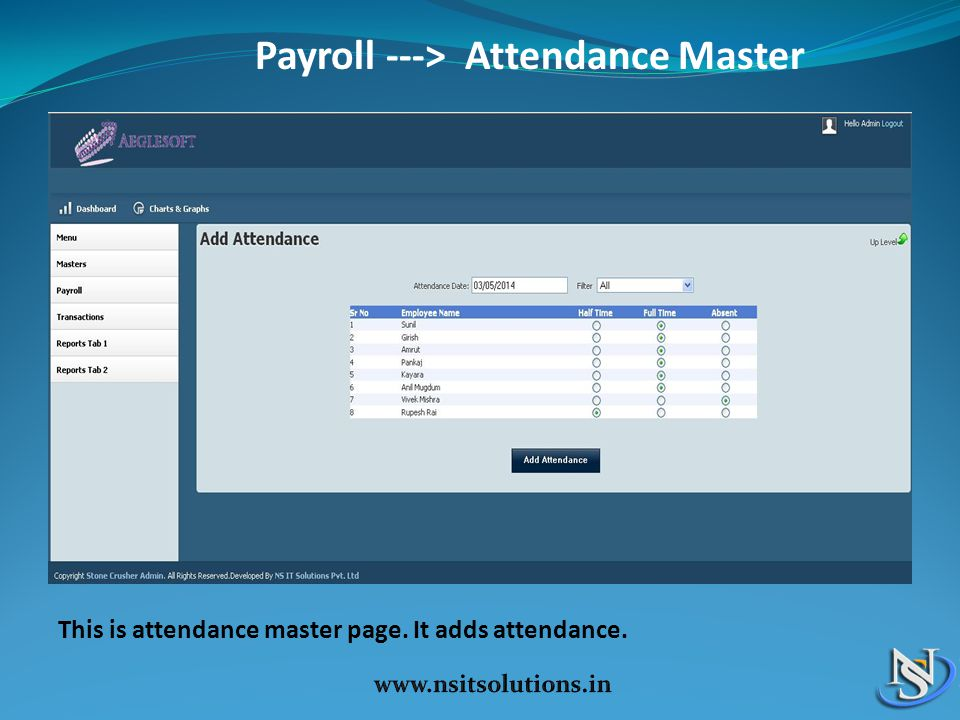 Payroll ---> Attendance Master