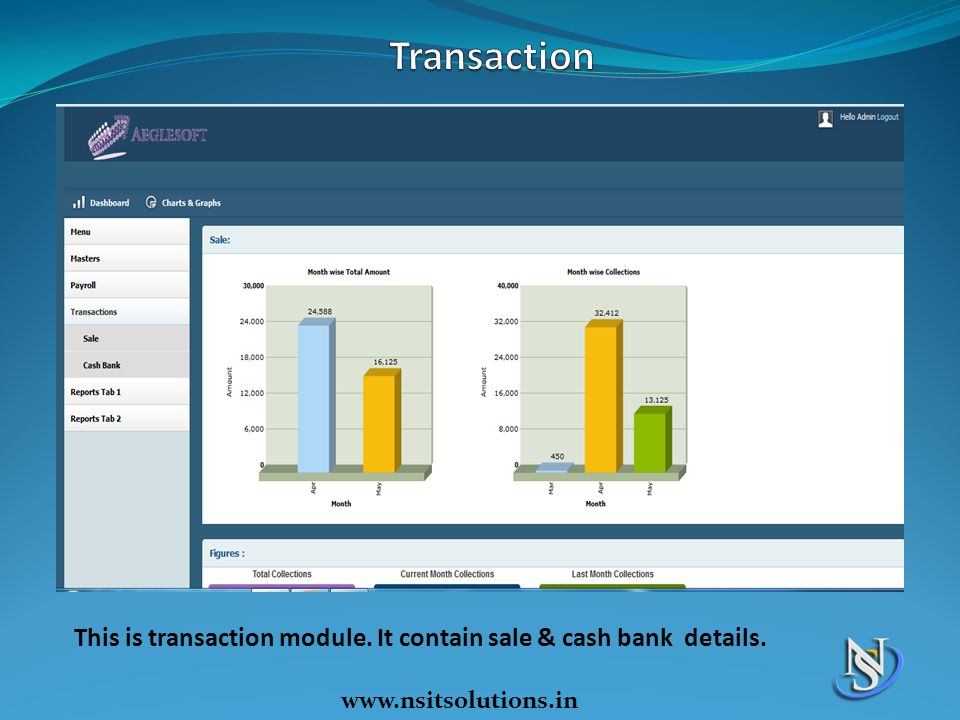 Transaction This is transaction module. It contain sale & cash bank details. www.nsitsolutions.in