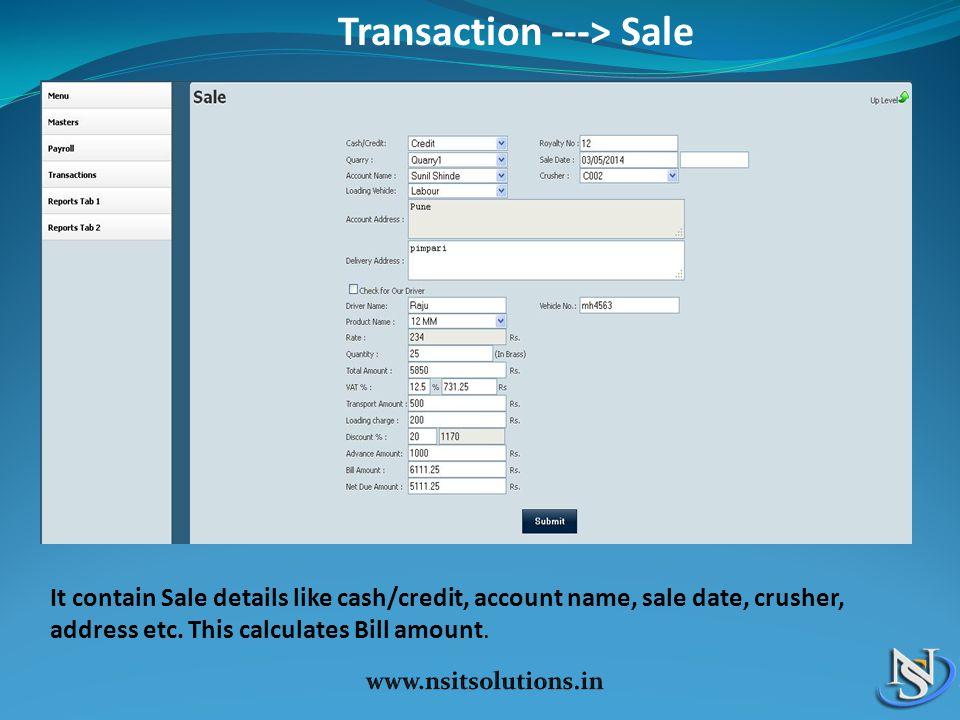 Transaction ---> Sale